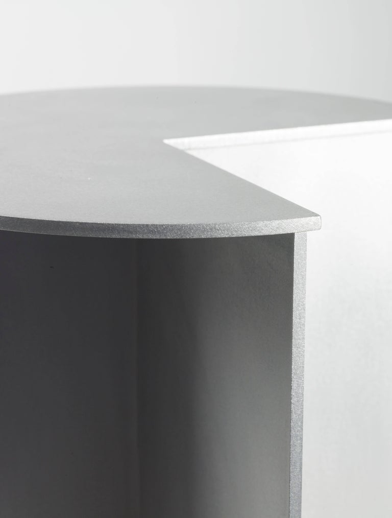 American 3-Quarter Side Table in Waxed Aluminum Plate by Jonathan Nesci For Sale