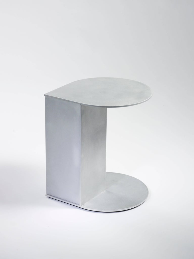 Tier side table in .25 inch thick aluminum plate, part of the solo show