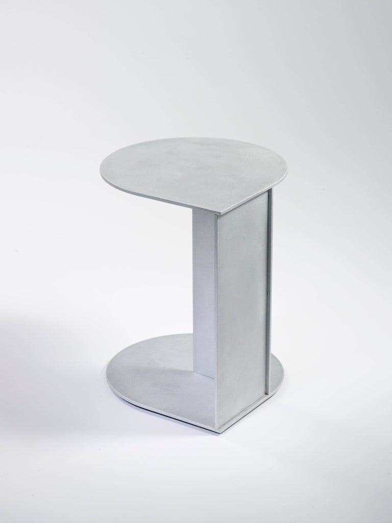 Minimalist Tier Table in Waxed and Polished Aluminium Plate by Jonathan Nesci For Sale