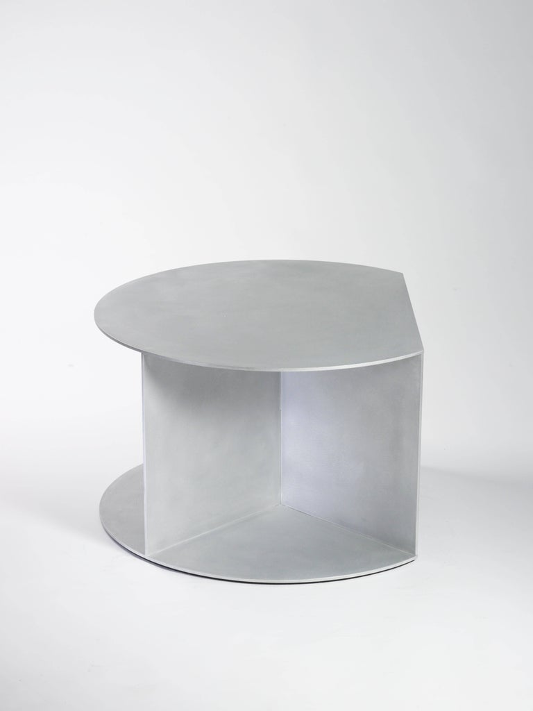 Minimalist Big D Coffee Table in Waxed and Polished Aluminium Plate by Jonathan Nesci For Sale