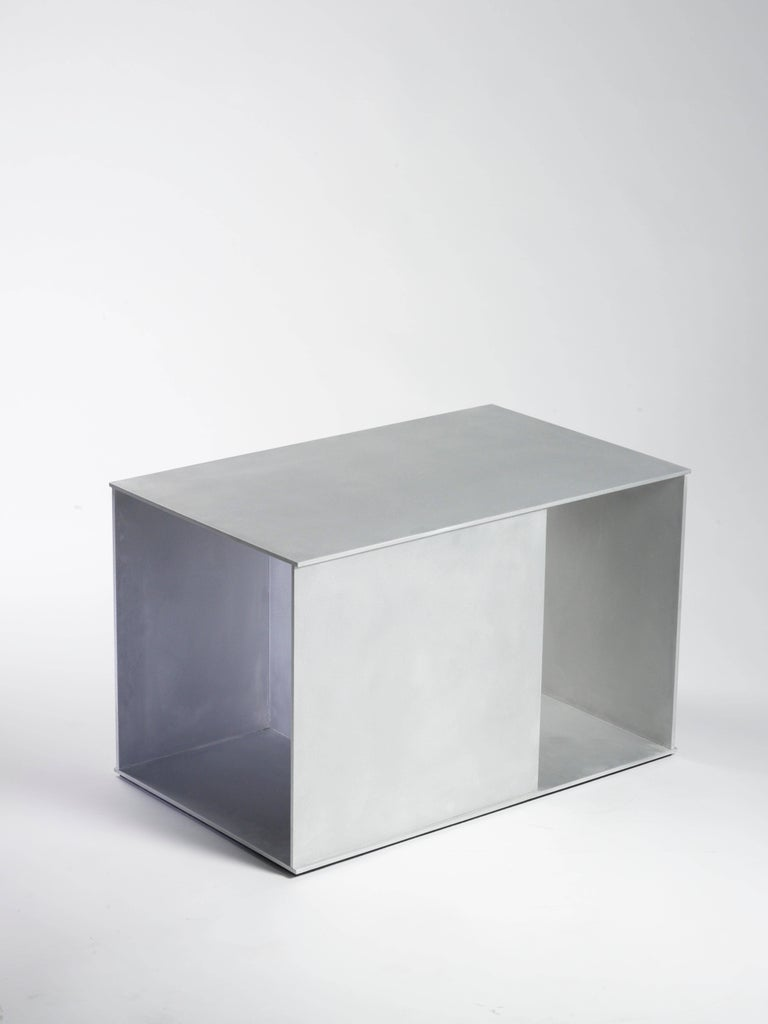 Minimalist Ratio Table in Waxed and Polished Aluminium Plate by Jonathan Nesci For Sale
