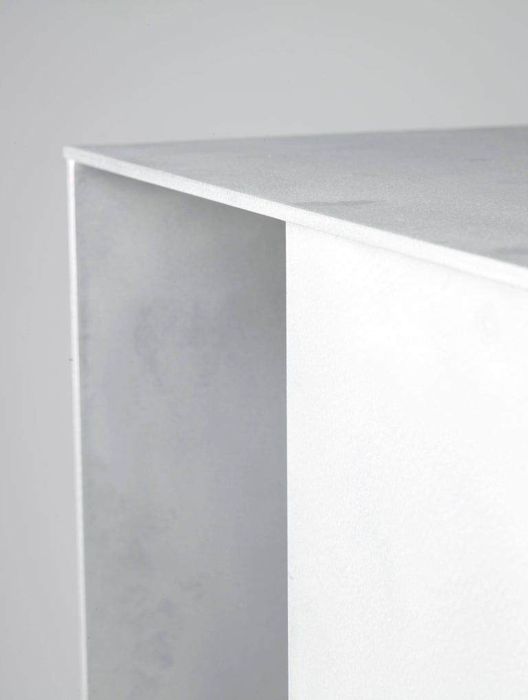 Ratio Table in Waxed and Polished Aluminium Plate by Jonathan Nesci In Excellent Condition For Sale In Columbus, IN
