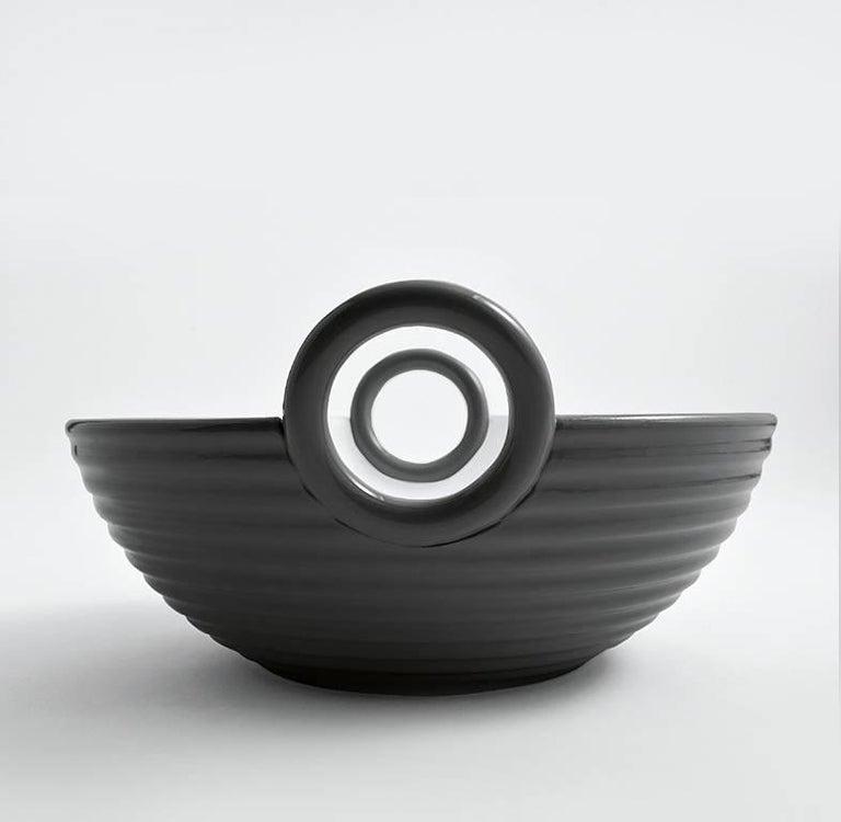 Italian Contemporary Ceramic Basket Platinum Glazed Alaya Small  For Sale