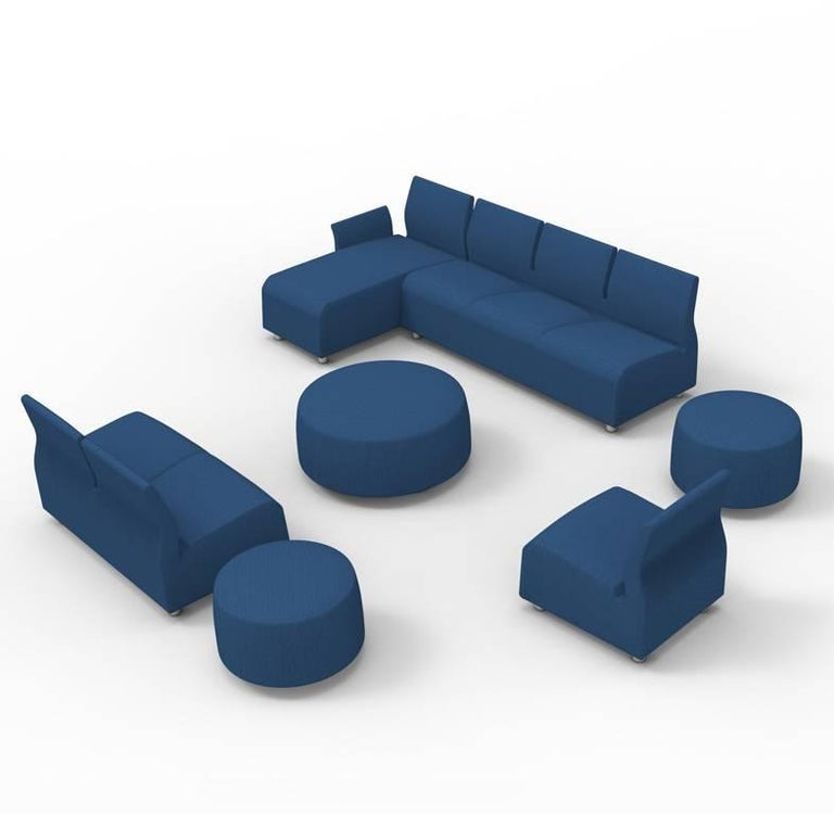 Three-Seater Conversation Upholstered Blue Sofa Satyendra Pakhale, 21st Century 6
