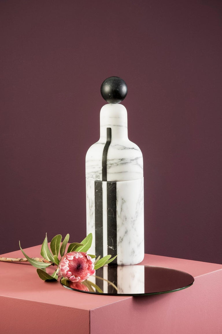 Italian Coolers C, Bottle Cooler in Marble and Brass by Pietro Russo for Editions Milano For Sale