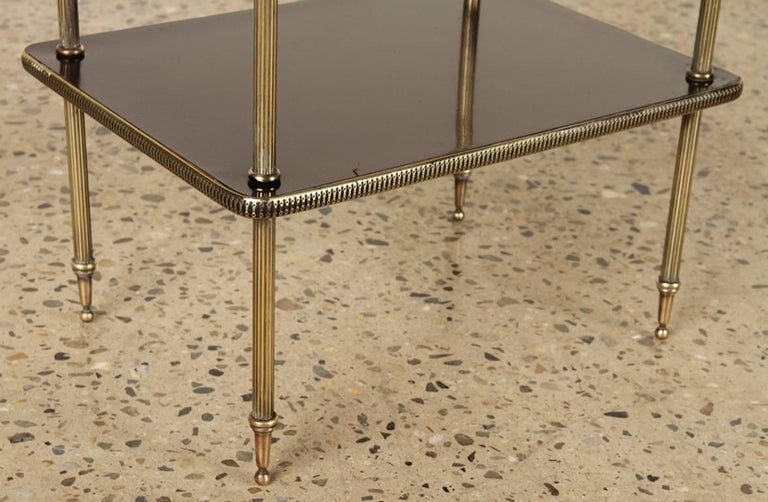 Lacquered Elegant Pair of Black Lacquer and Brass End or Bedside Tables For Sale