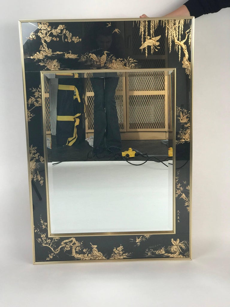 La Barge Chinoiserie Mirror, Black and Gold Large Size In Excellent Condition For Sale In Brooklyn, NY