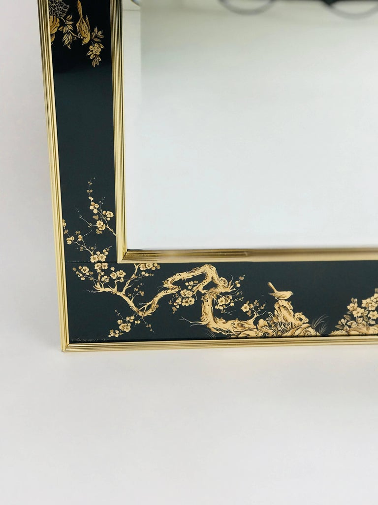 Verre Églomisé La Barge Chinoiserie Mirror, Black and Gold Large Size For Sale