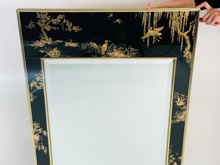 American La Barge Chinoiserie Mirror, Black and Gold Large Size For Sale