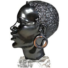 Midcentury African Woman Bronze Head Sculpture, Austria, 1950s