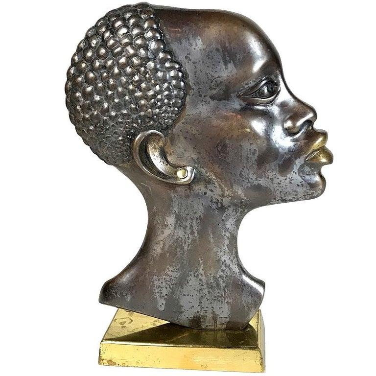 Midcentury African Woman Bronze Head Sculpture, Austria, 1950s