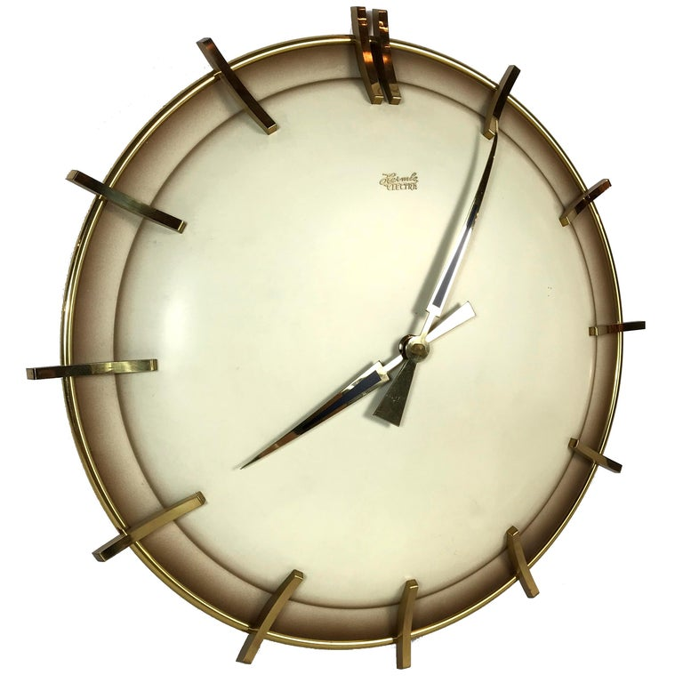 Hermle Electra Midcentury Brass Wall Clock Germany 1960s For Sale