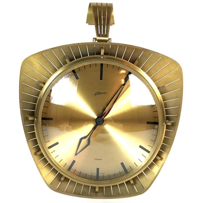 Atlanta Midcentury Brass Wall Clock, Germany, 1950s