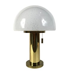 Huge Limburg Mushroom Brass Sideboard Lamp, Blown Glass Shade, 1970s, Germany