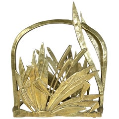 French Art Deco Style Brass Faux Bamboo Leaves Magazine Rack, 1950s, France