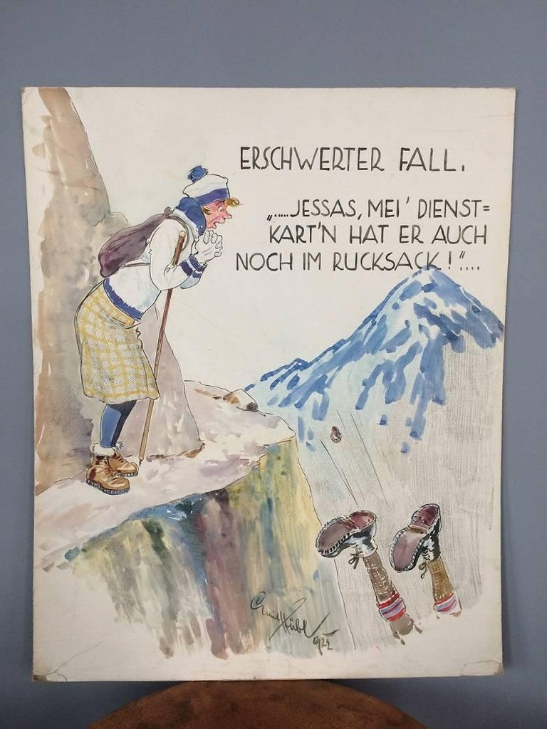 Unique and very rare signed original caricature by Prof. Emil Hübl from 1922. Prof. Emil Huebl (1890-1969) was a famous Austrian painter, illustrator, photographer and student of Ludwig Koch. He also collaborated several times with the studio Hans