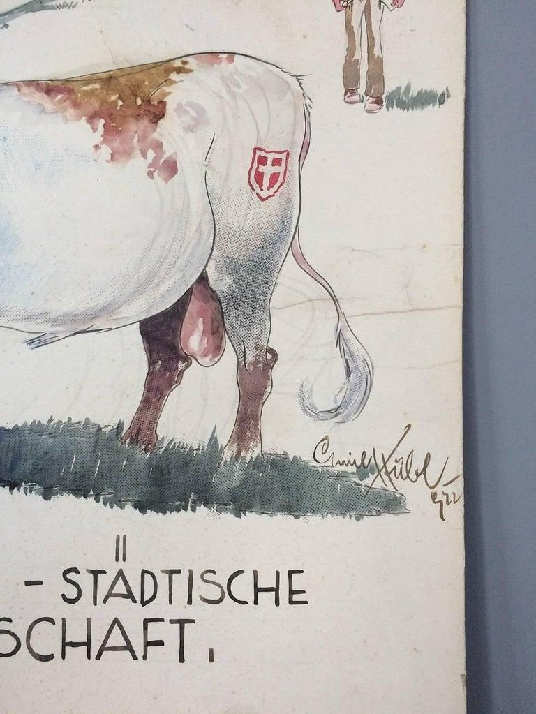 Art Deco Unique Ink Drawing by Emil Huebl - Gemeinde Wien, 1922 Austria For Sale