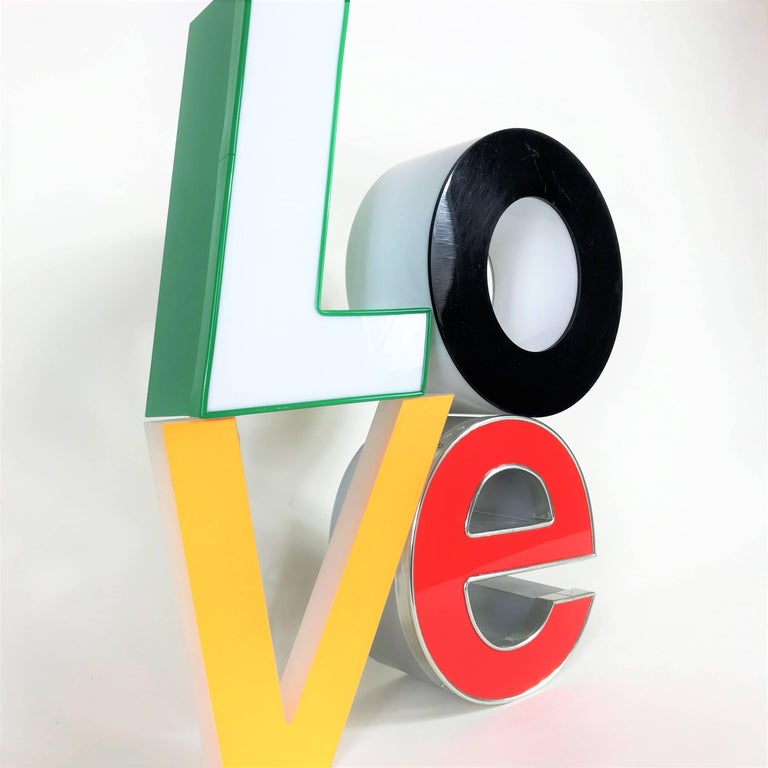 3d Love Lighting Sign In Style Of Robert Indiana Arty