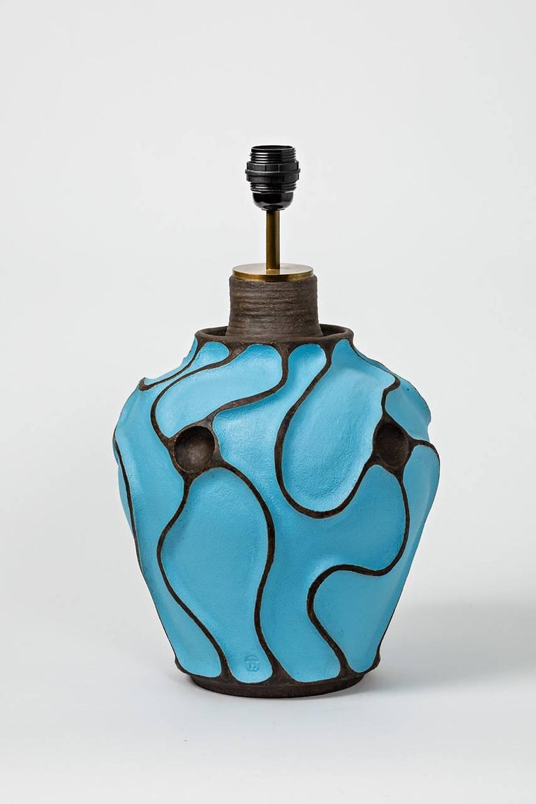 Beaux Arts Ceramic Lamp with a Blue Turquoise Glaze by Hervé Taquet, circa 2017 For Sale