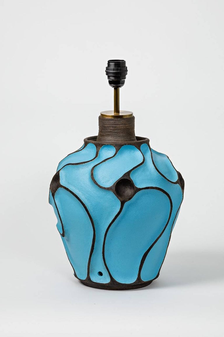 French Ceramic Lamp with a Blue Turquoise Glaze by Hervé Taquet, circa 2017 For Sale