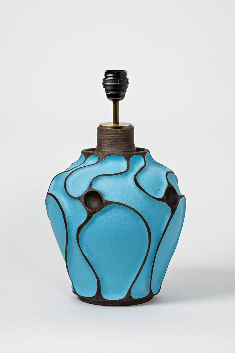 Ceramic Lamp with a Blue Turquoise Glaze by Hervé Taquet, circa 2017 In Excellent Condition For Sale In Saint-Ouen, FR