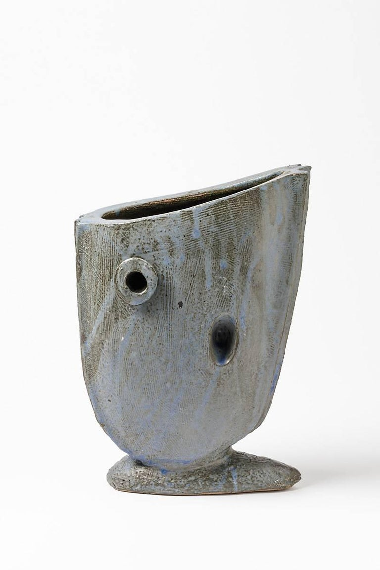 A ceramic vase with glaze decoration by Michel Lanos. Perfect original conditions. Signed and dated under the base L, 94, circa 1994.