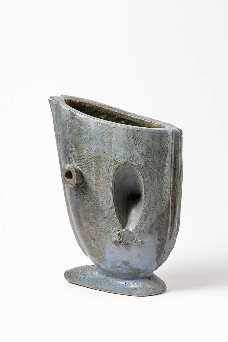 Ceramic Vase with Glaze Decoration by Michel Lanos, circa 1994 In Excellent Condition For Sale In Saint-Ouen, FR