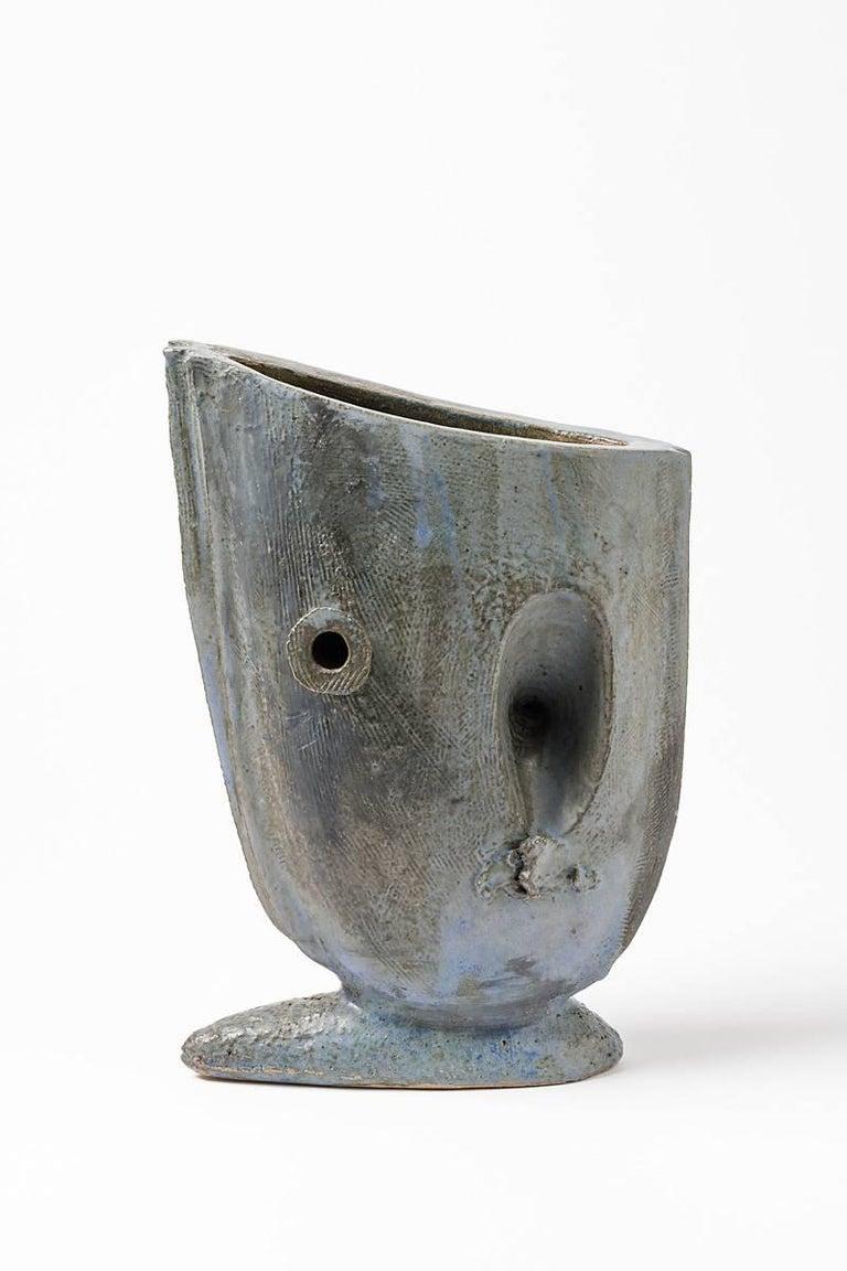 20th Century Ceramic Vase with Glaze Decoration by Michel Lanos, circa 1994 For Sale