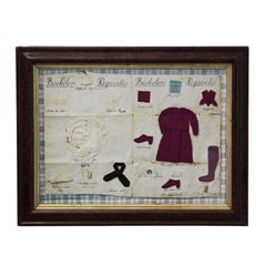 Mid-19th Century Framed 'Bachelor's Requisites'