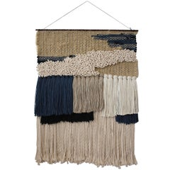 Handwoven Wall Hanging Neutral and Indigo by All Roads