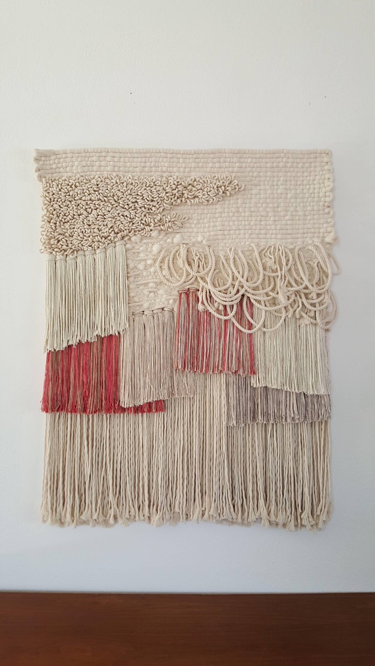 Hand Woven Wall Hanging Pink And Cream By All Roads For