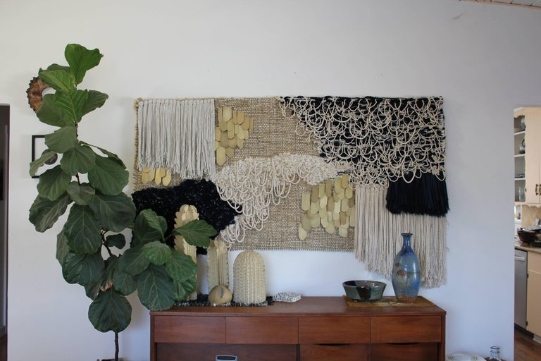 Handwoven Wall Hanging Indigo and Brass by All Roads In Excellent Condition For Sale In Yucca Valley, CA