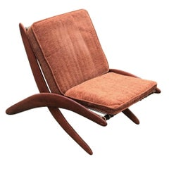 Mid Century Walnut Scissor Lounge Chair
