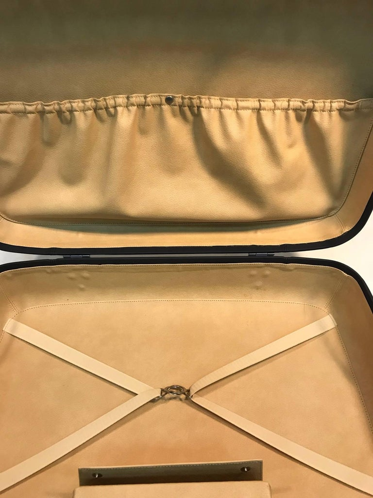 Brushed Ferriari Leather  Travel Case Grey Leather For Sale