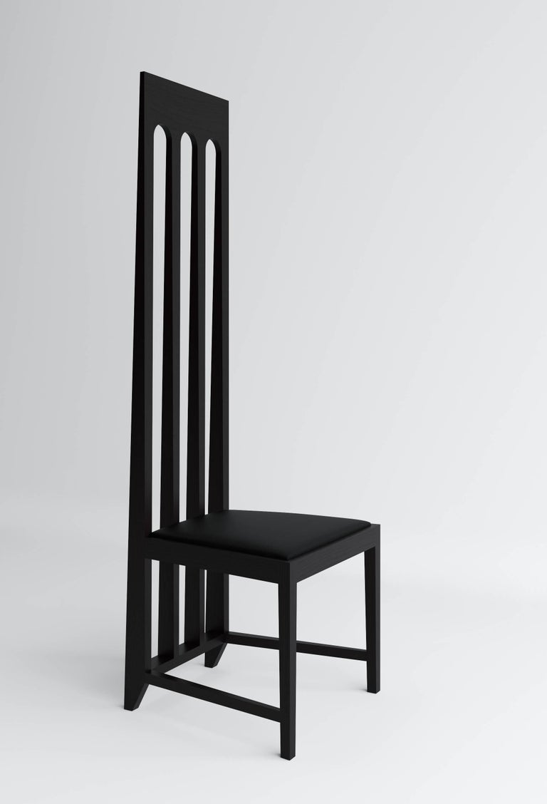 Chair by Russian designer Dmitry Samygin  Oak and plywood and black wool or leather for the seat  Measure: 113 cm x 49 cm x 48 cm.
