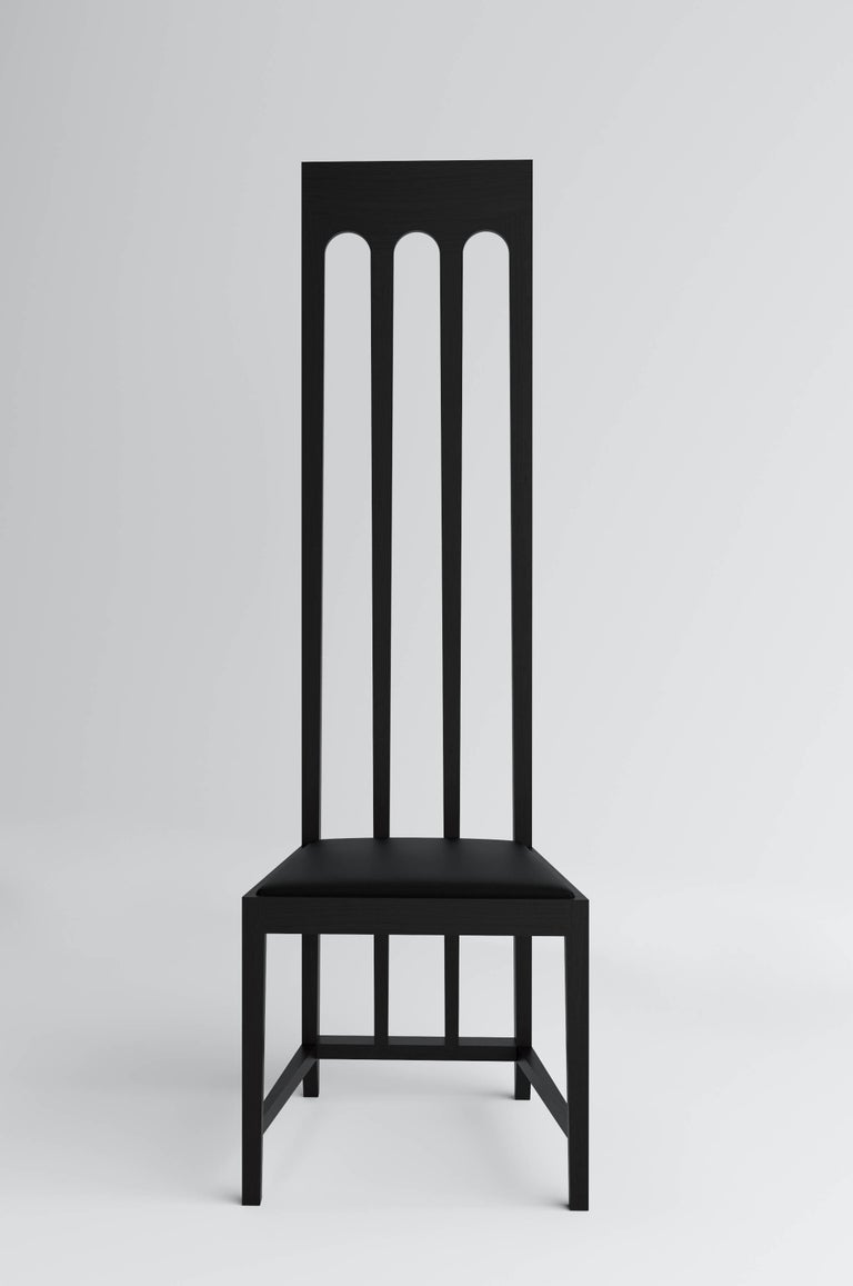 Art Deco Tall Black Arch Chair 'Lacquered Wood' by Dmitry Samygin For Sale