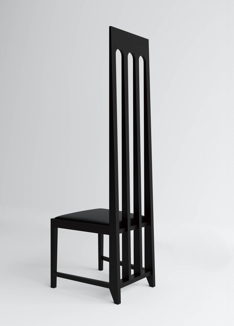 Russian Tall Black Arch Chair 'Lacquered Wood' by Dmitry Samygin For Sale