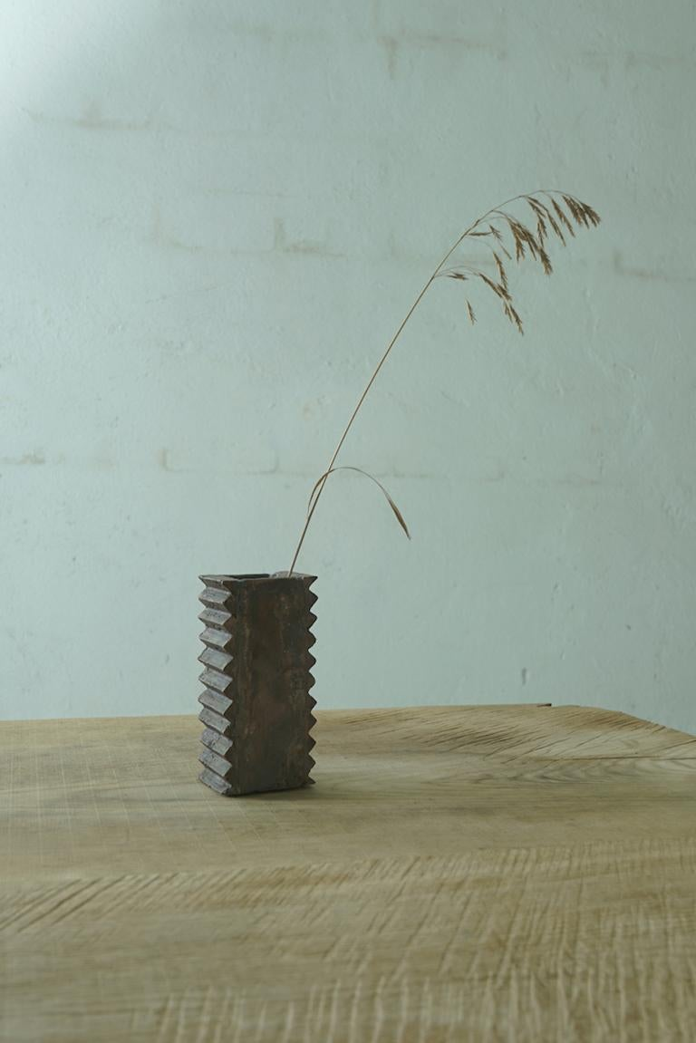 Russian Brutalist Vase Made of Copper, Unique For Sale