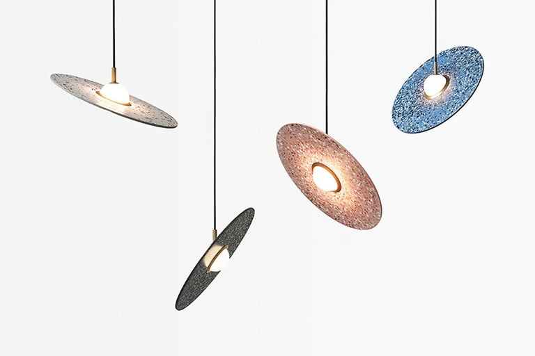 Industrial 'Planet' Terrazzo Pendant Lamp by Bentu Design 'White' For Sale
