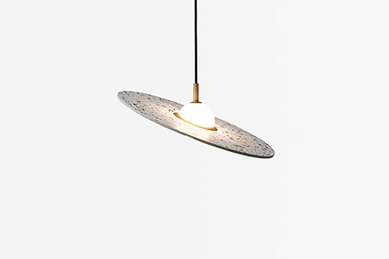 Chinese 'Planet' Terrazzo Pendant Lamp by Bentu Design 'Black' For Sale