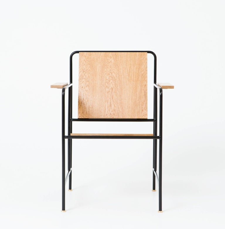 M Armchair 'Oak veneer and Metal structure' - Le Corbusier inspiration In New Condition For Sale In Paris, FR