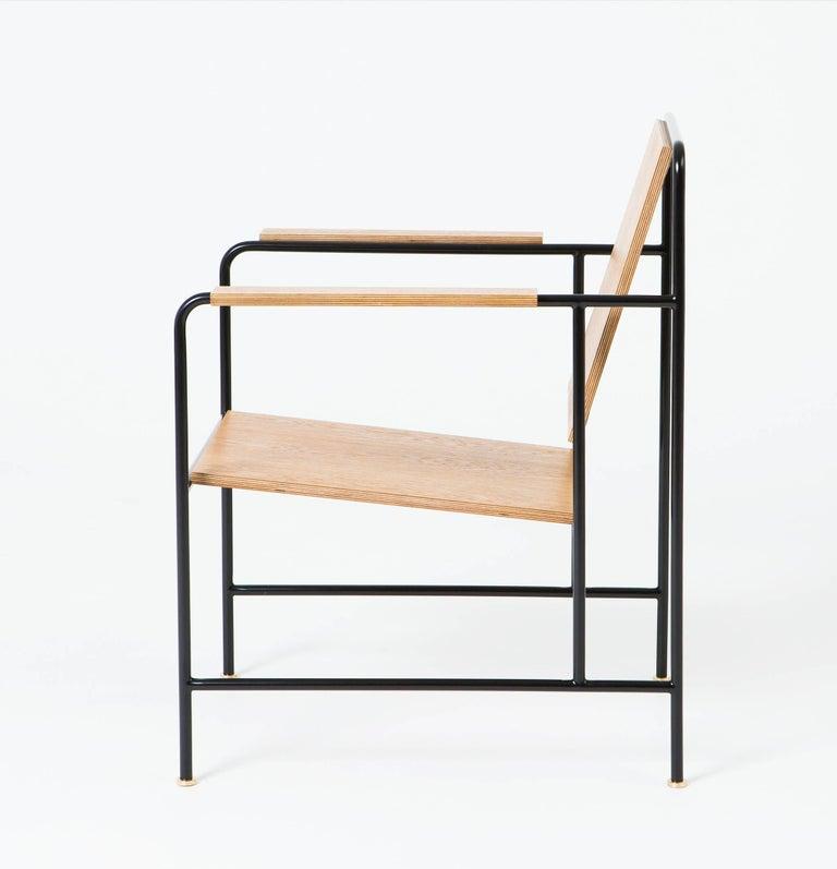 Veneer M Armchair 'Oak veneer and Metal structure' - Le Corbusier inspiration For Sale