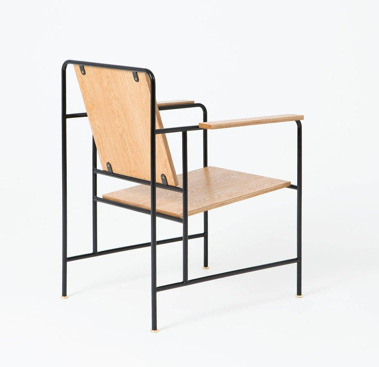 Russian M Armchair 'Oak veneer and Metal structure' - Le Corbusier inspiration For Sale