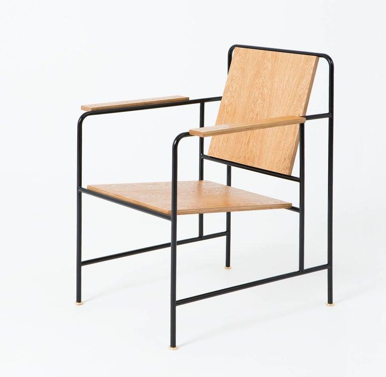 Bauhaus M Armchair 'Oak veneer and Metal structure' - Le Corbusier inspiration For Sale