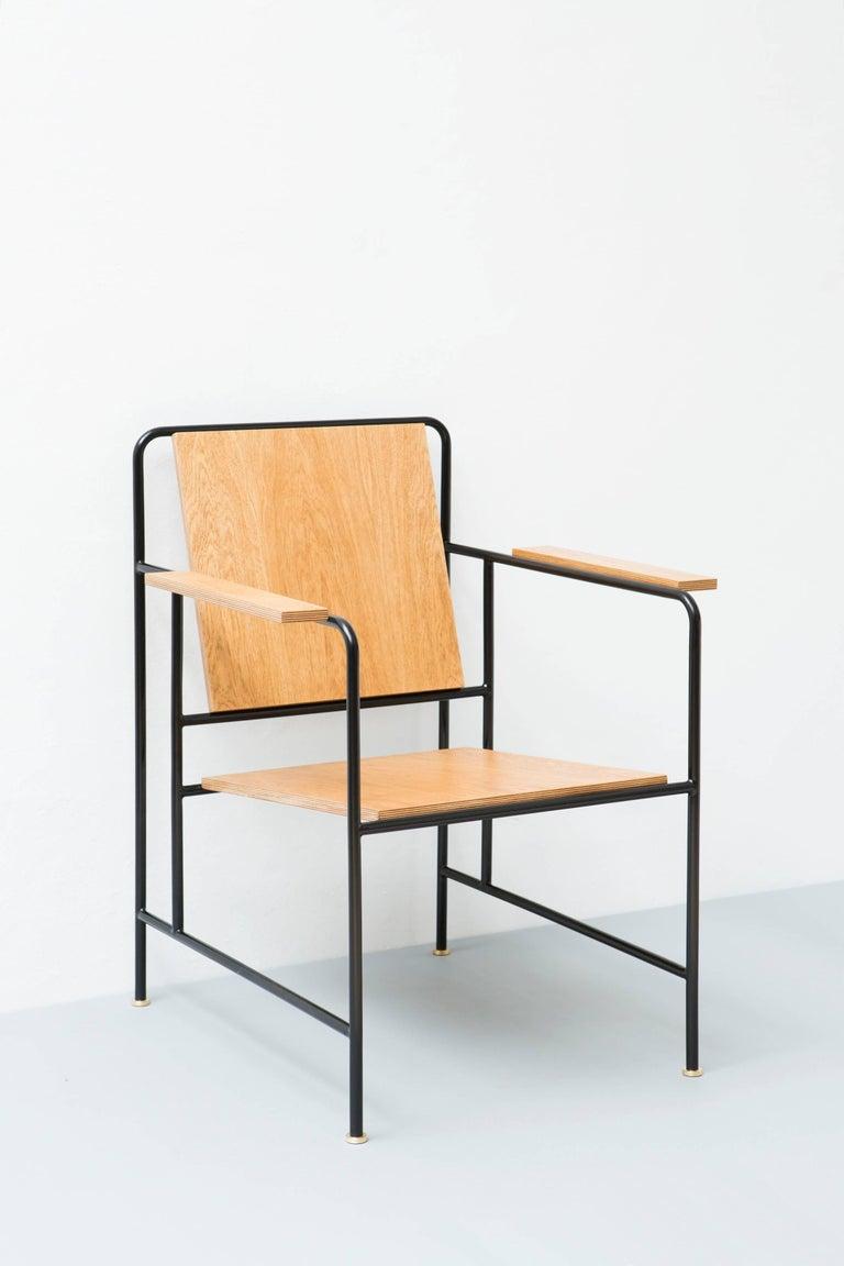 Armchair by Russian designer Dmitry Samygin Oak veneer and metal tube  Measures: 86 cm x 65 cm x 65 cm (34 x 25.5 x 25.5 in).