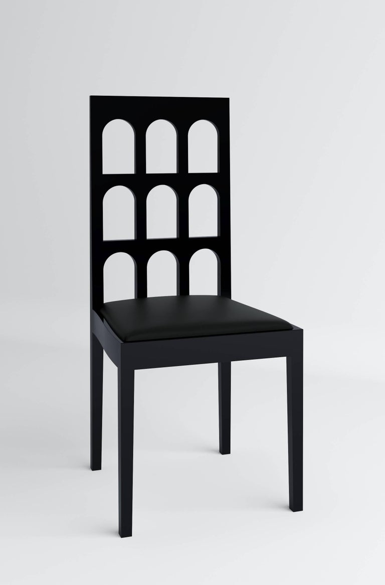 Italy Black Chair 'Lacquered Wood' by Dmitry Samygin 3