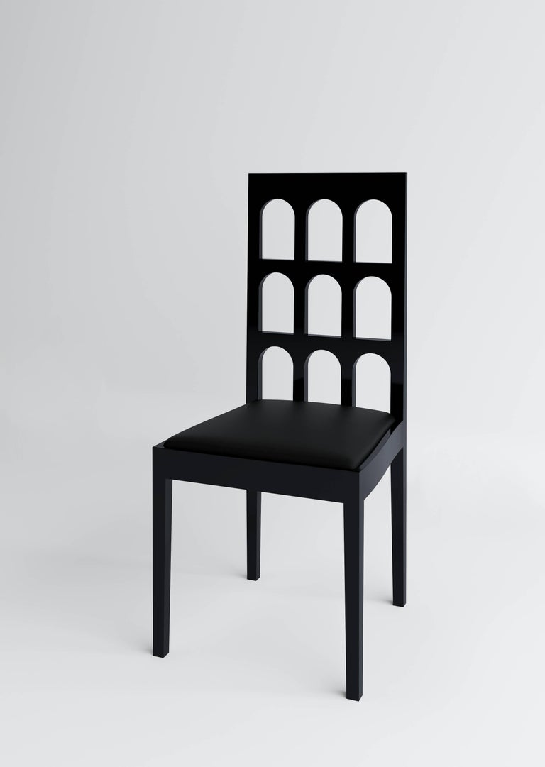 Italy Black Chair 'Lacquered Wood' by Dmitry Samygin 2