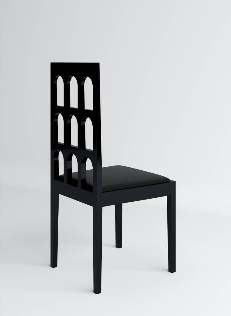 Italy Black Chair 'Lacquered Wood' by Dmitry Samygin 4