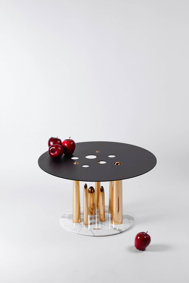 Organic Modern Contemporary Coffee Table or Side Table in Marble, Brass, and Steel For Sale
