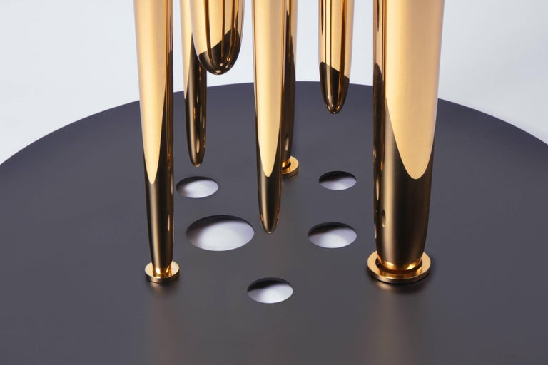 Lebanese Contemporary Coffee Table or Side Table in Marble, Brass, and Steel For Sale